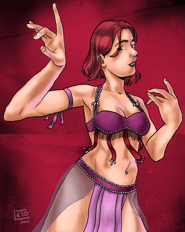 Illustration of belly dancer