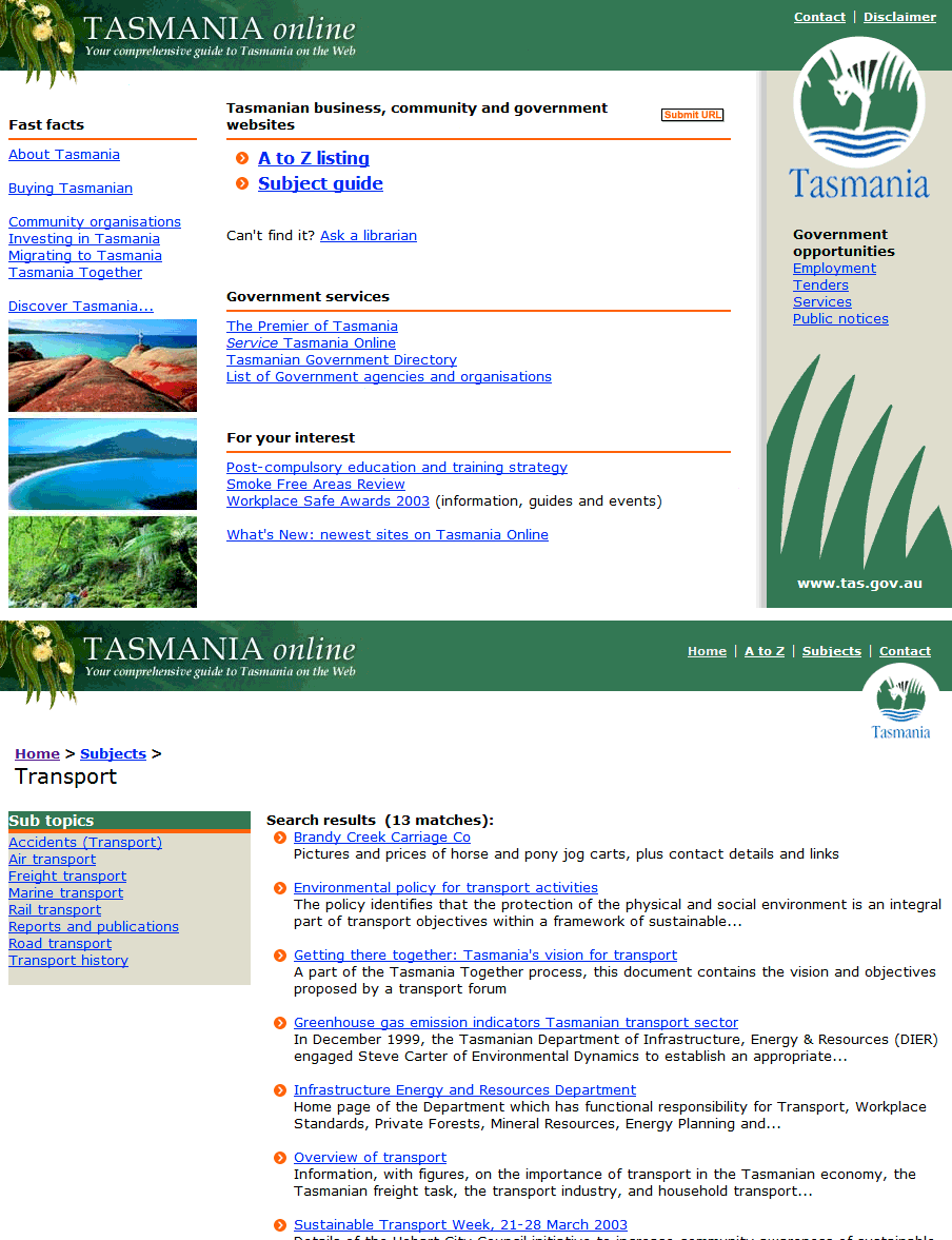 Screenshot of Tasmania Online